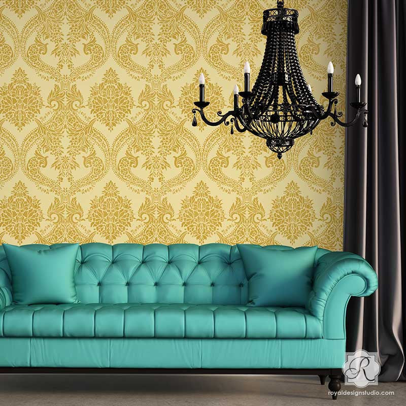 ... Victorian Design with Flowers - Damask Wall Stencils for Elegant DIY Home Decor ...