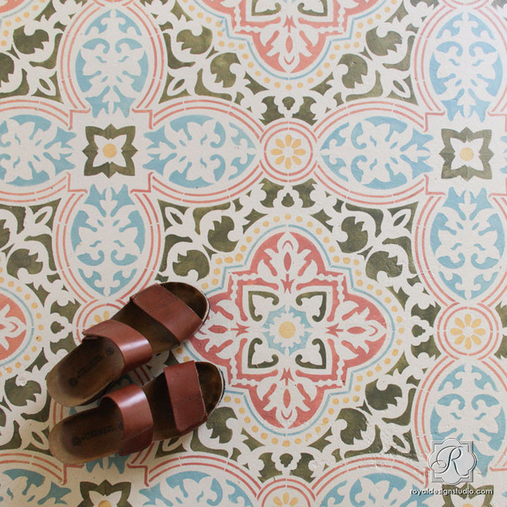 Colorful Chalk Paint Painted Concrete Floor Stencils - Royal Design Studio Tile Stencils