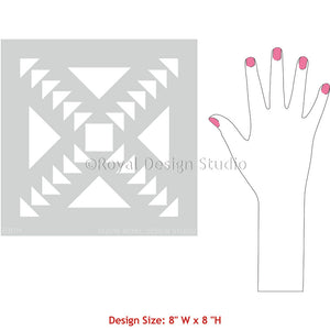 Small Patterns for Painting and Stenciling with Concrete Quilt Tile Stencils - Royal Design Studio