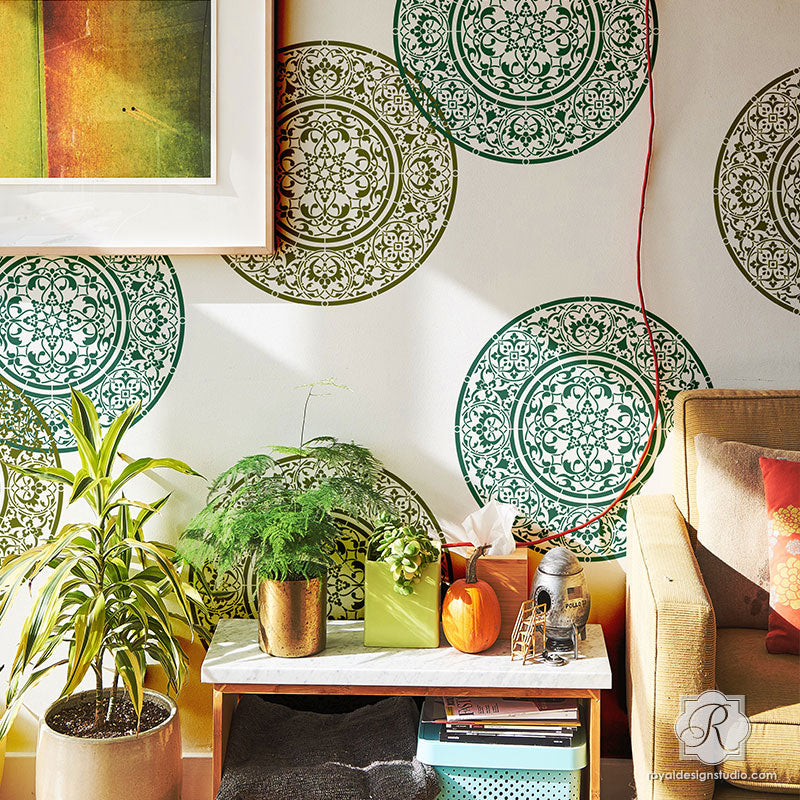 Decorative Mandala Designs Wall Art Stencils for Painting - Royal Design Studio ... & Large Mandala Medallion Stencils for Painting DIY Wall Art Designs ...