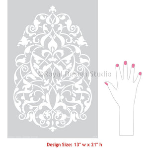 Large Wall Mural Stencils for Painting Moroccan or Turkish Ornamental Wall Designs - Royal Design Studio