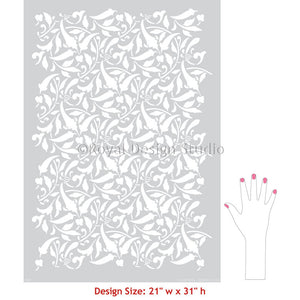 Wall Painting Stencils for Custom Home Decor - Interlacing Leaves Wall Stencil - Royal Design Studio