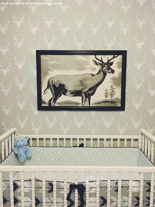 Neutral Painted Nursery Deer Nature Designs - Deer Head Wall Art Stencils - Royal Design Studio
