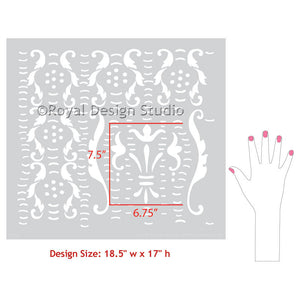 Intricate and detailed wall stencils for DIY designer wallpaper look - Royal Design Studio