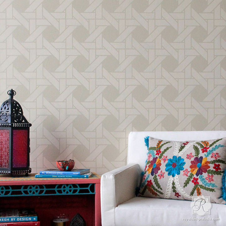 DIY Wall Painting with Woven Design - Interwoven Basketweave Wall Stencils - Royal Design Studio