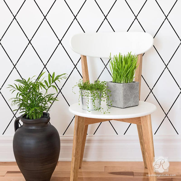 Diamond trellis wall stencils modern or retro diy paint - Geometric wall designs with paint ...