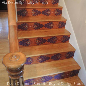 Stained Wood Stairs and Designs - Deco Diamond Stenciled Stairs - Royal Design Studio