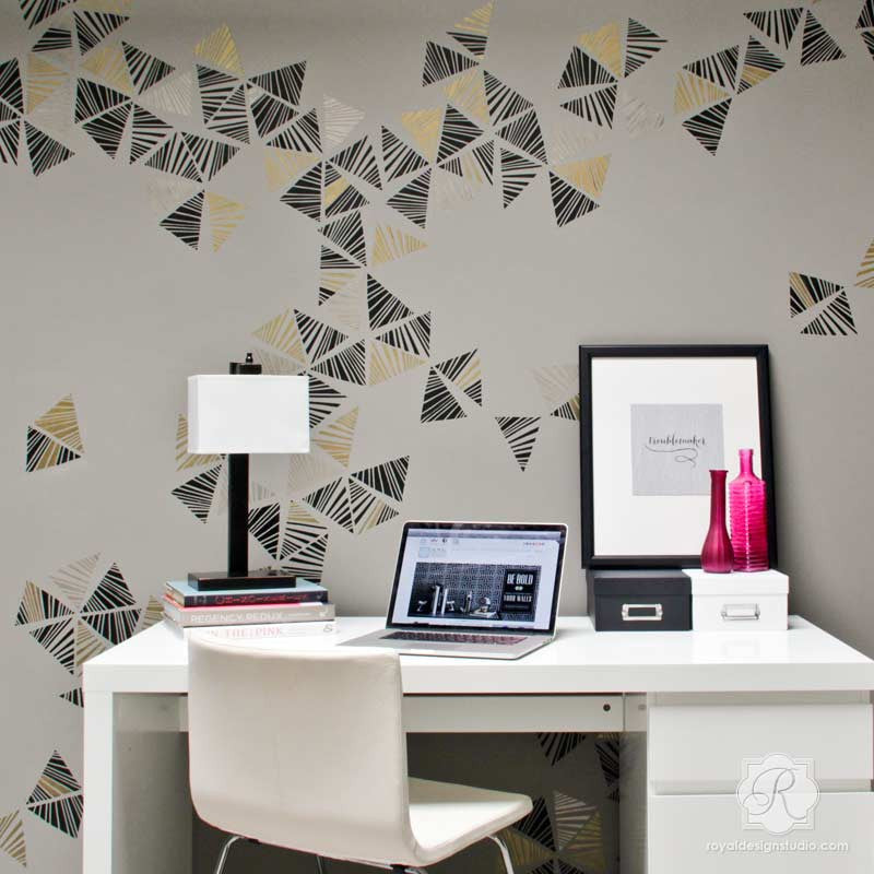 Metallic Wall Art Stencils to Decorate a Modern Room - Royal Design Studio