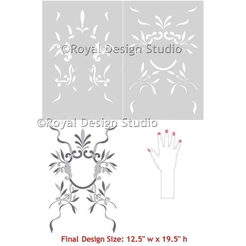 Large Wall Stencils for Italian Wall Mural Painting - Decorating Room with European Decor - Royal Design Studio