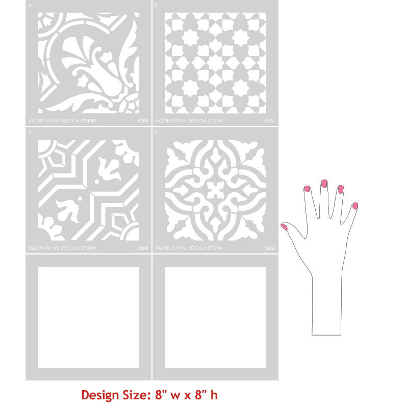 Tile Stencils For Walls Floors And DIY Kitchen Decor Royal - Faux encaustic tile