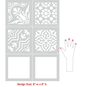 DIY Decor Idea with Painted Faux Tile Floor Patterns - Spanish Tile Stencils - Royal Design Studio