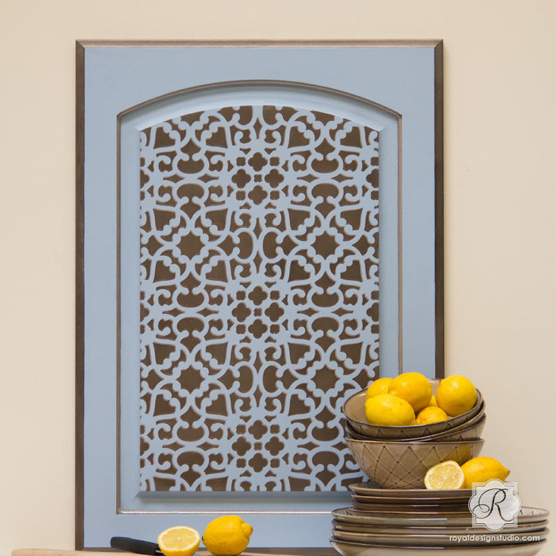 Modern moroccan lace furniture stencil stenciling for for What kind of paint to use on kitchen cabinets for large leaf wall art