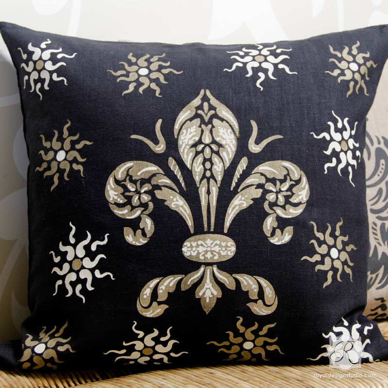 Painting a Pillow with Italian Stencils - Classic Fleur de Lis Design - Royal Design Studio