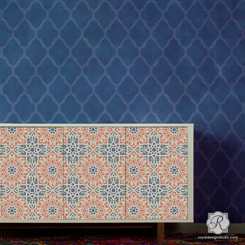 Geometric Moroccan Interior Decor   Zahara Moroccan Furniture Stencils For  Painting   Royal Design Studio