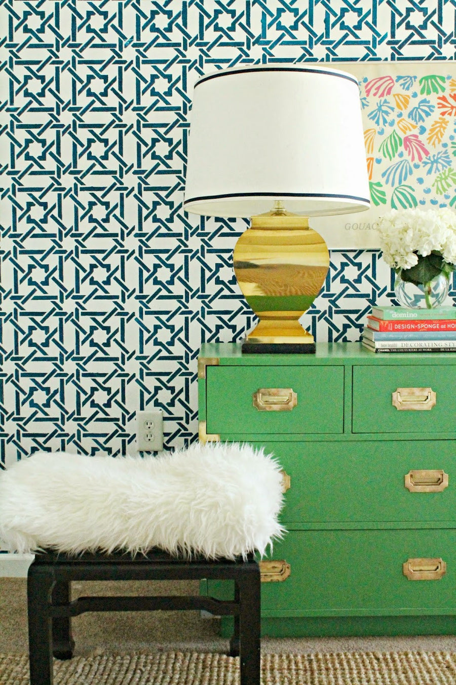 Decorate your home with Moroccan stencils camel bone weave geometric and exotic pattern - Royal Design Studio