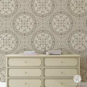 DIY wallpaper look using intricate allover tile stencils - Aragon Damask Tile Wall Stencils - Royal Design Studio
