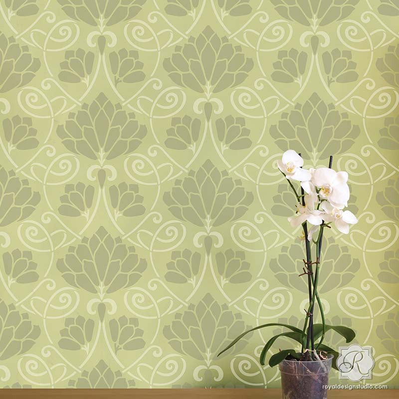 Decorating DIY Projects and Wall Murals with Lotus Paradise Floral Wall Stencils - Royal Design Studio