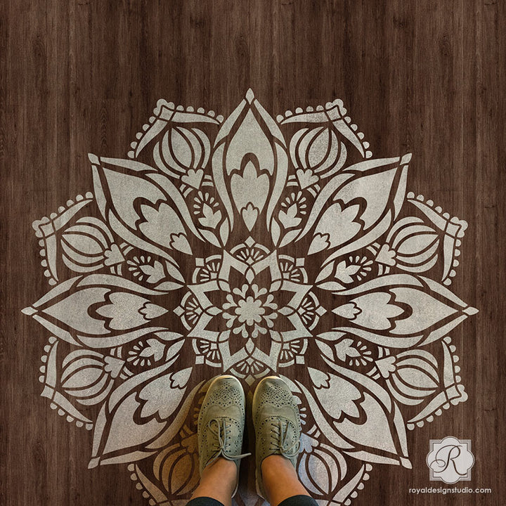 Custom Wood Floor Design with Painted Mandala Art - Royal Design Studio Stencils for Decorating