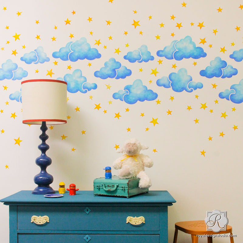 Painted Clouds Stars Sky Wall Stencils For Diy Nursery
