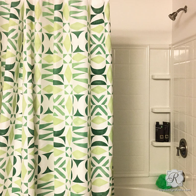 DIY Shower Curtain Painted with Geometric Modern Fabric Stencils - Royal Design Studio