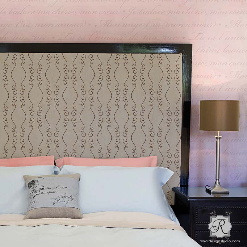 DIY Pattern on Painted Headboard and Chic Accent Wall - Gigi Scroll Modern Furniture Stencils - Royal Design Studio