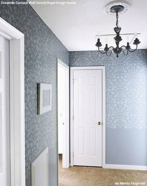 Painted Hallway Walls Stencils Modern Damask Pattern - Royal Design Studio