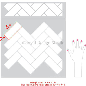 Faux Subway Tiled Wall Stencils DIY Project Idea - Royal Design Studio Wall Patterns
