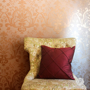 Elegant Damask Wallpaper Wall Stencils for Boho Chic Anthropologie Interior Design - Royal Design Studio