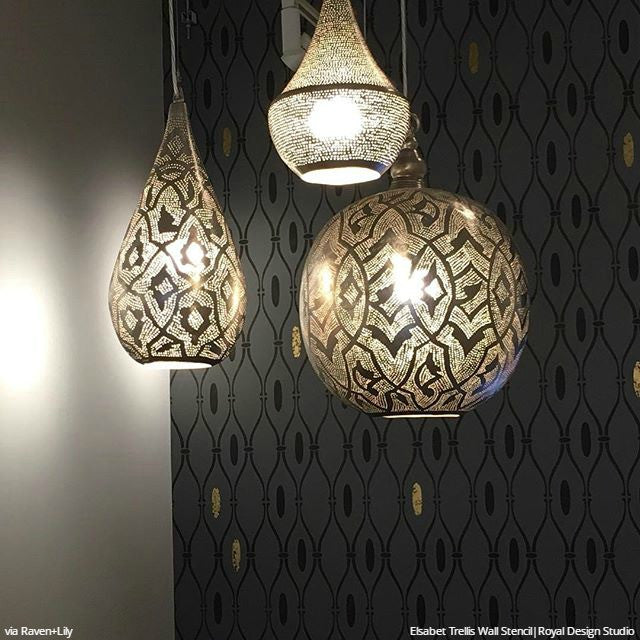 Moroccan Wall Stencils for Painting Walls - Royal Design Studio Uzbek Suzani Wall Stencil