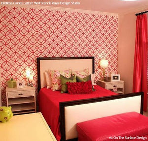 Colorful Pink Girls Bedroom Wallpaper Wall Stencils - Royal Design Studio