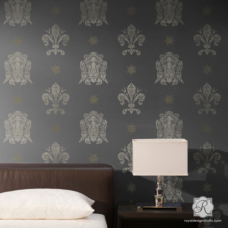 Traditional European Shields Wall Mural Stencils Royal Design