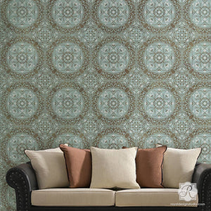 Paint your walls with an elegant damask tile pattern - Aragon Damask Tile Wall Stencils - Royal Design Studio