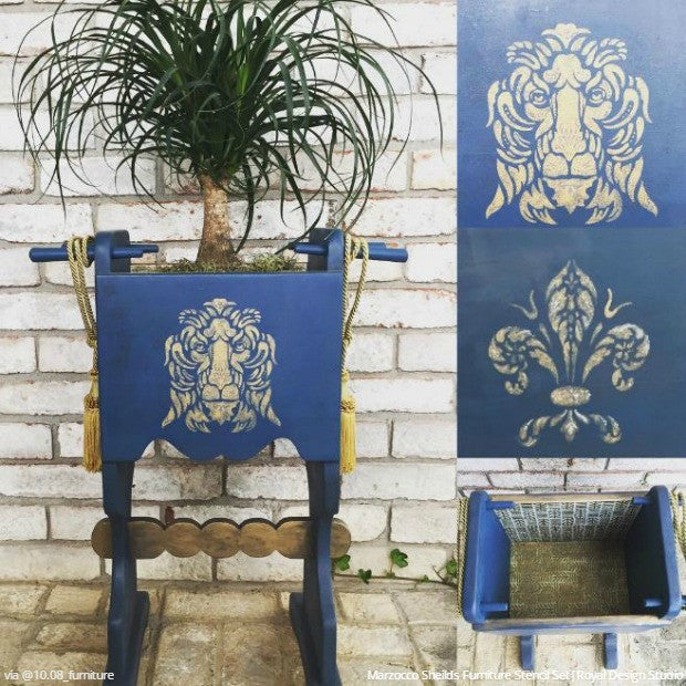 Chalk Paint Painted Furniture Stencils - Fleur de Lis and Lion Italian Design - Royal Design Studio