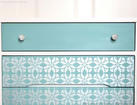 Modern Flower Pattern Painted on DIY Decor - Adana Abstract Floral Furniture Stencils - Royal Design Studio