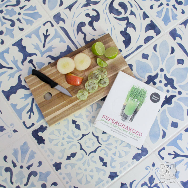 Blue Tiles Flooring DIY Project Idea for Custom Tiled Floor Stencils - Royal Design Studio