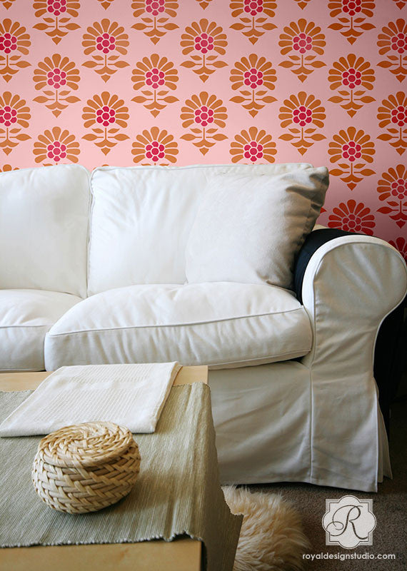 Modern Flower Allover Wall Stencils for Decorating Home Decor with Pattern by Royal Design Studio Stencils