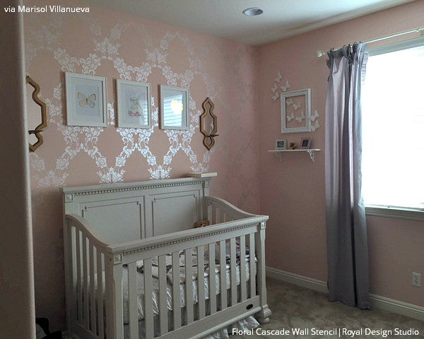Cute Pink Baby Girl Nursery with Large Flower Wallpaper Wall Stencils - Royal Design Studio