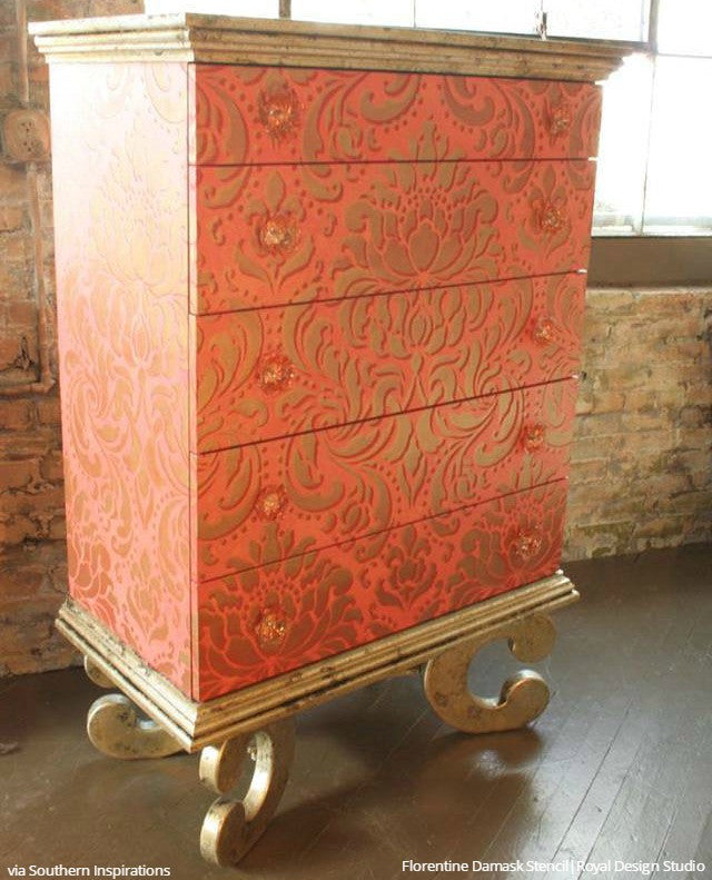 Vintage Retro Large Furniture Stencils Damask Pattern Dresser Drawers - Royal Design Studio
