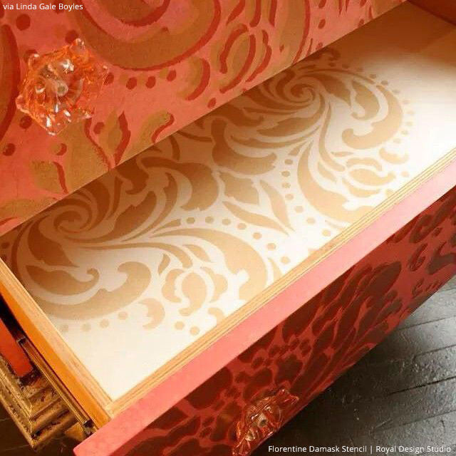Painted Patterns in Dresser Drawers - Florentine Classic Damask Stencils - Royal Design Studio