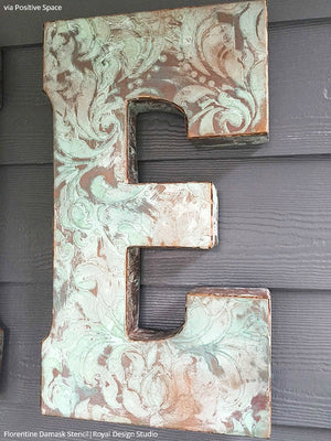 DIY Patina Wall Art Stencils with Damask Designs - Royal Design Studio