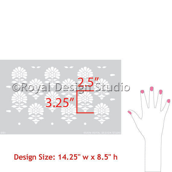 Turkish and Indian Painted Furniture Flower Stencils by Royal Design Studio Stencils