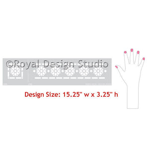 Zari Indian Flower Border Stencil by Royal Design Studio Stencils