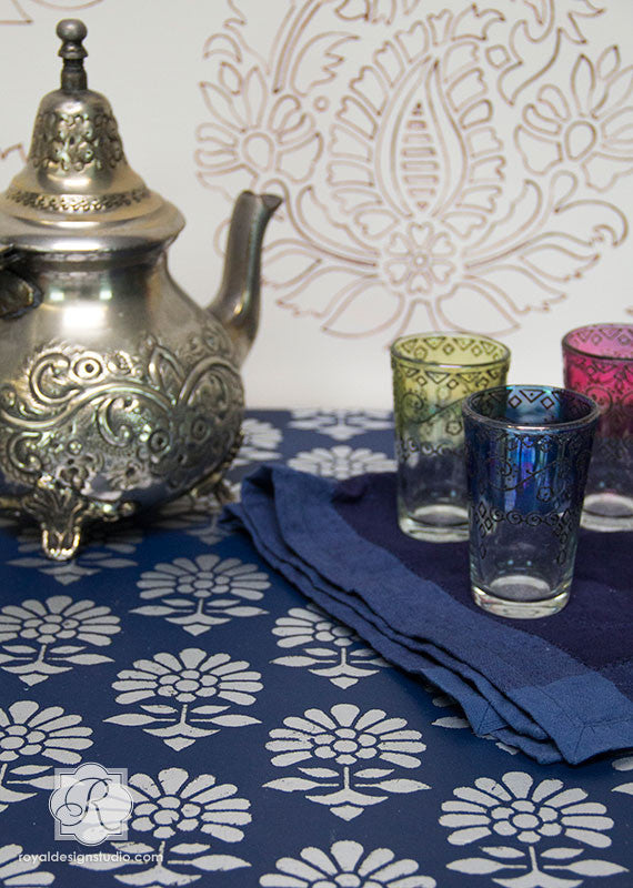 Metallic Exotic Painted Table DIY - Turkish and Indian Painted Furniture Flower Stencils by Royal Design Studio Stencils