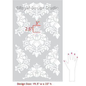 French Damask Patterns for Painting Accent Wall, Floors, and Ceilings - Aveline Floral Damask Wall Stencils - Royal Design Studio
