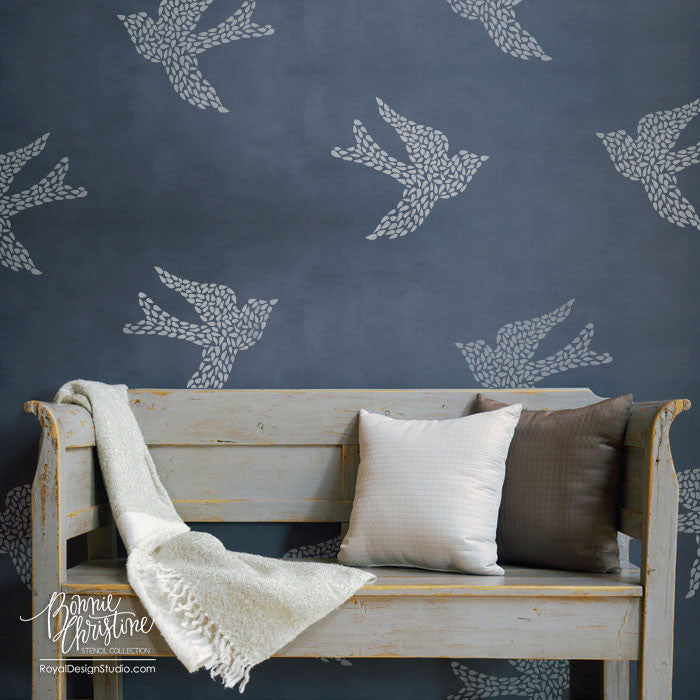 Design Stencils For Walls wall paint design stencils classia for cool design stencils for Large Wall Motif Bird Stencil Fly Away With Me By Bonnie Christine For Royal