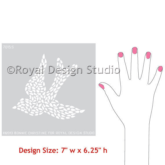 Fly Away With Me Small Bird Wall Motif or Furniture Stencil, by Bonnie Christine for Royal Design Studio