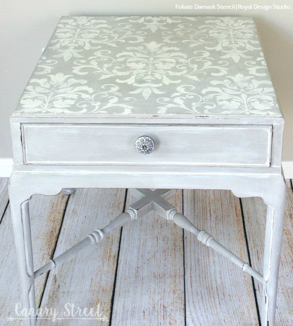 Chalk Paint Painted Furniture Stencils - Foliate Damask Stencils from Royal Design Studio