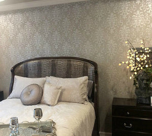 Metallic Silver Painted Bedroom Makeover - Folidate Damask Wallpaper Wall Stencils
