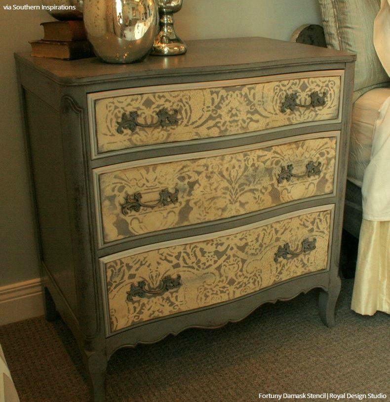 Classic European Italian Damask Patterns Painted Furniture Stencils