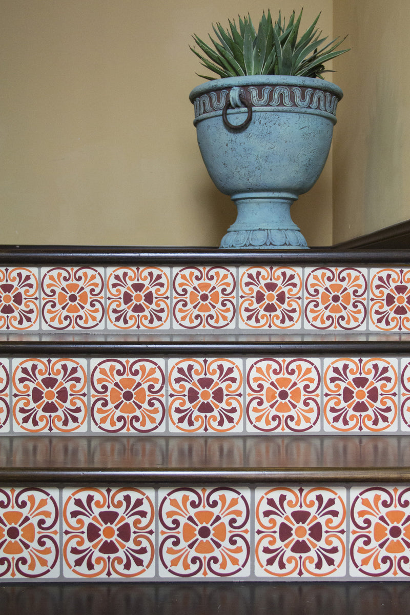 Tuscan Tile Stencils For Stenciling Stairs Walls And Diy